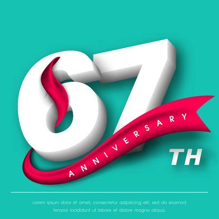 Anniversary emblems 67 anniversary template design