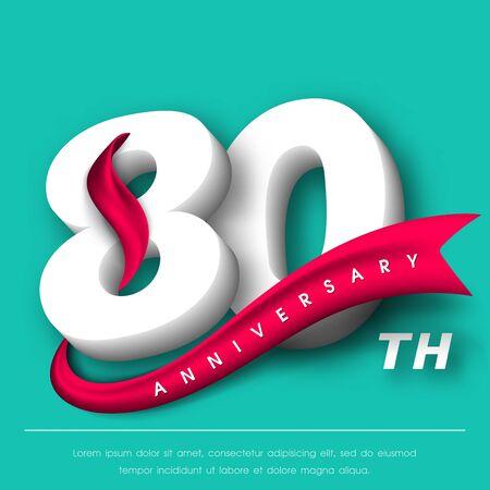 Anniversary emblems 80 anniversary template design Illustration