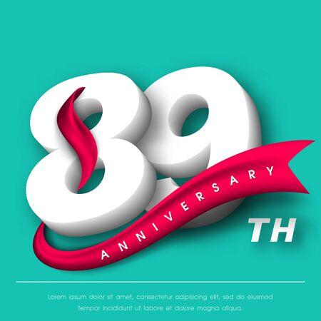 Anniversary emblems 89 anniversary template design