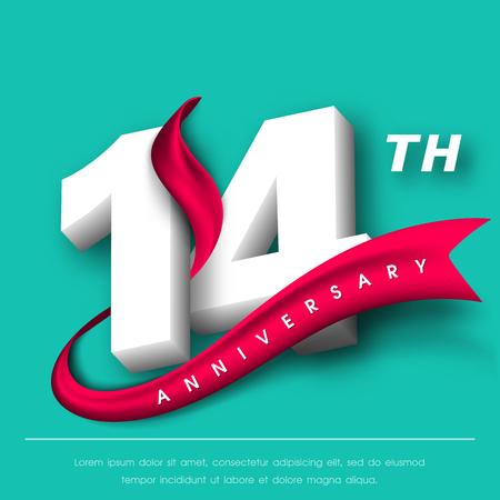 Anniversary emblems 14 anniversary template design