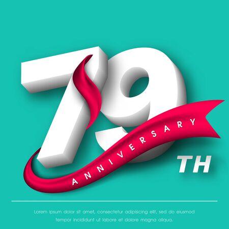 Anniversary emblems 79 anniversary template design Illustration