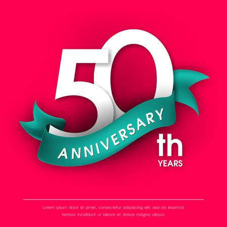 Anniversary emblems 50 anniversary template design Illustration
