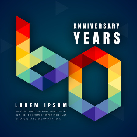 Anniversary emblems celebration logo, 60th birthday vector illustration, with dark blue background, modern geometric style and colorful polygonal design. 60 anniversary template design