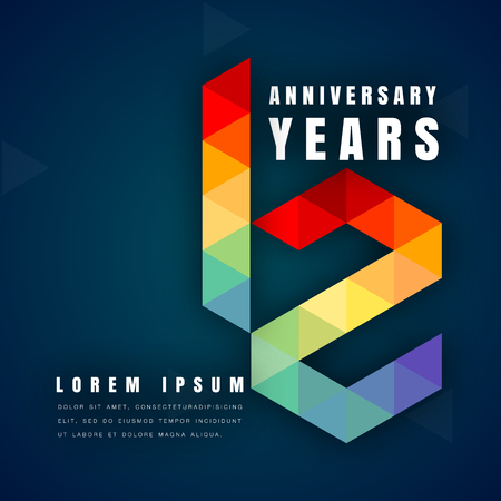 Anniversary emblems celebration logo, 12th birthday vector illustration, with dark blue background, modern geometric style and colorful polygonal design. 12 anniversary template design