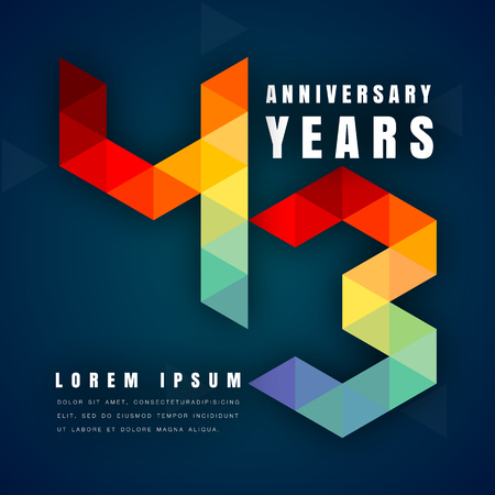 Anniversary emblems celebration logo, 43rd birthday vector illustration, with dark blue background, modern geometric style and colorful polygonal design. 43 anniversary template design