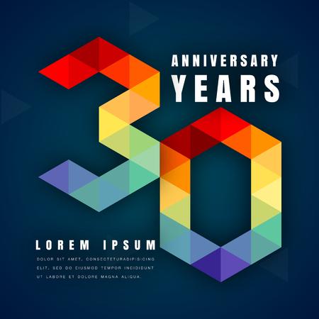 Jubileum embleem viering logo, 30e verjaardag vector illustratie, met donkerblauwe achtergrond, moderne geometrische stijl en kleurrijk veelhoekig ontwerp. 30 jarig jubileum sjabloon ontwerp