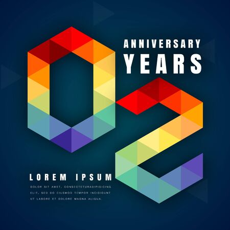 2nd: Anniversary emblems celebration logo, 2nd birthday vector illustration, with dark blue background, modern geometric style and colorful polygonal design. 2 anniversary template design