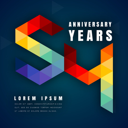 54: Anniversary emblems celebration logo, 54th birthday vector illustration, with dark blue background, modern geometric style and colorful polygonal design. 54 anniversary template design Illustration