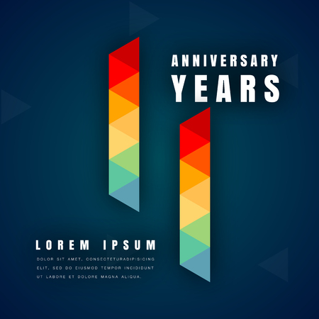 Anniversary emblems celebration logo, 11th birthday vector illustration, with dark blue background, modern geometric style and colorful polygonal design. 11 anniversary template design