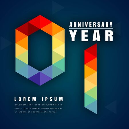 1st birthday: Anniversary emblems celebration logo, 1st birthday vector illustration, with dark blue background, modern geometric style and colorful polygonal design. 1 anniversary template design