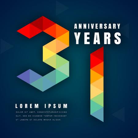 31st: Anniversary emblems celebration logo, 31st birthday vector illustration, with dark blue background, modern geometric style and colorful polygonal design. 31 anniversary template design