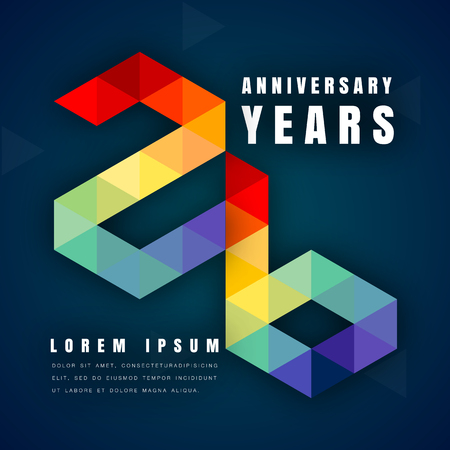 Anniversary emblems celebration logo, 26th birthday vector illustration, with dark blue background, modern geometric style and colorful polygonal design. 26 anniversary template design