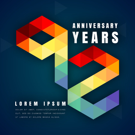 92: Anniversary emblems celebration logo, 92nd birthday vector illustration, with dark blue background, modern geometric style and colorful polygonal design. 92 anniversary template design