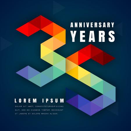 周年記念エンブレム記念ロゴ、暗い青色の背景、モダンな幾何学的なスタイルやカラフルな多角形デザインの第 35 誕生日ベクトル図です。35 周年記