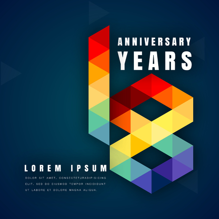 happy 18th birthday: Anniversary emblems celebration logo, 18th birthday vector illustration, with dark blue background, modern geometric style and colorful polygonal design. 18 anniversary template design