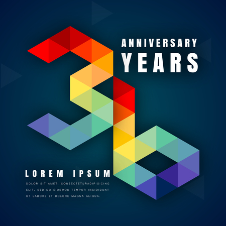 number 36: Anniversary emblems celebration logo, 36th birthday vector illustration, with dark blue background, modern geometric style and colorful polygonal design. 36 anniversary template design