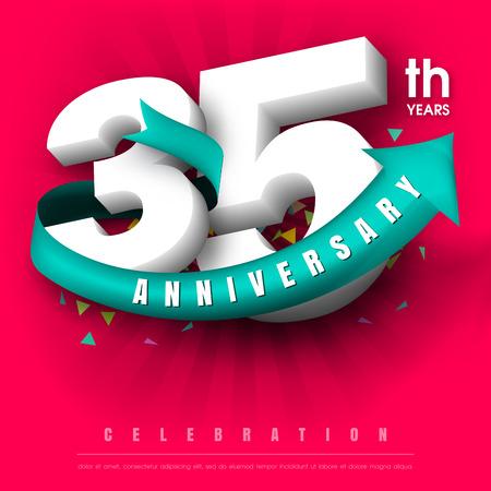 35: Anniversary emblems 35 anniversary template design