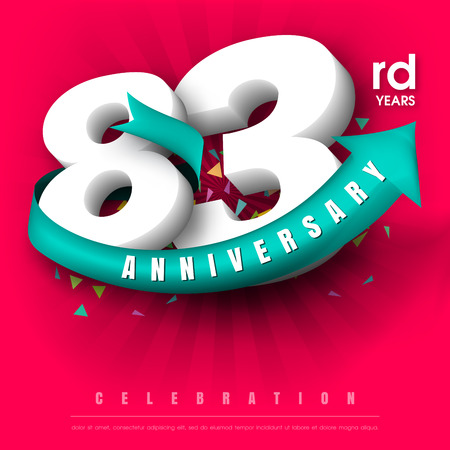 adorn: Anniversary emblems 83 anniversary template design Illustration