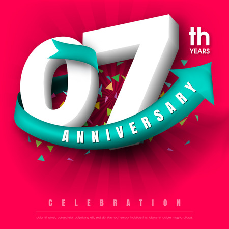 adorn: Anniversary emblems 7 anniversary template design Illustration
