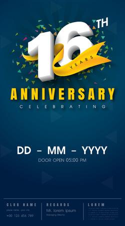 16 years anniversary invitation card - celebration template design , 16th anniversary modern design elements, dark blue background - vector illustration 向量圖像