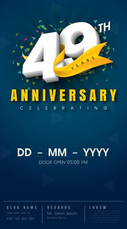 49 years anniversary invitation card - celebration template design , 49th anniversary modern design elements, dark blue background - vector illustration