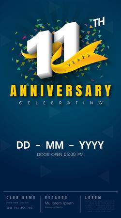 11 years anniversary invitation card - celebration template design , 11th anniversary modern design elements, dark blue background - vector illustration