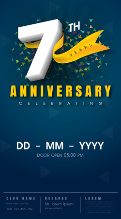 7 years anniversary invitation card - celebration template design , 7th anniversary modern design elements, dark blue background - vector illustration