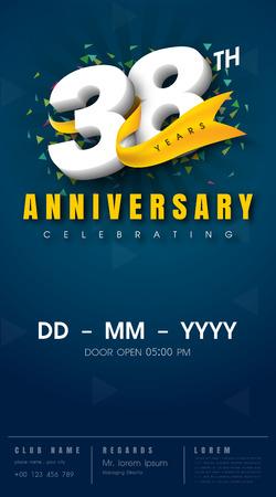 38 years anniversary invitation card - celebration template  design , 38th anniversary modern design elements, dark blue  background - vector illustration