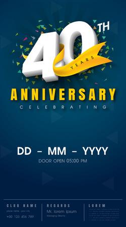 40 years anniversary invitation card - celebration template  design , 40th anniversary modern design elements, dark blue  background - vector illustration