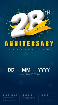 28: 28 years anniversary invitation card - celebration template  design , 28th anniversary modern design elements, dark blue  background - vector illustration