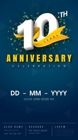 10 年記念招待カード - お祝いテンプレート デザイン、10 周年記念モダンなデザイン要素、暗い青色の背景 - ベクター イラスト 写真素材 - 68319833