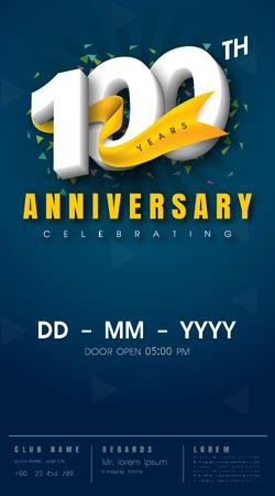 100 years anniversary invitation card - celebration template design , 100th anniversary modern design elements, dark blue background - vector illustration