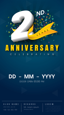 2nd: 2 years anniversary invitation card - celebration template  design , 2nd anniversary modern design elements, dark blue  background - vector illustration Illustration