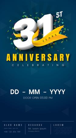 31st: 31 years anniversary invitation card - celebration template  design , 31st anniversary modern design elements, dark blue  background - vector illustration