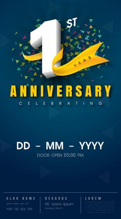 1 year anniversary invitation card - celebration template  design , 1st anniversary modern design elements, dark blue  background - vector illustration