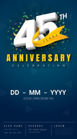 45th: 45 years anniversary invitation card - celebration template  design , 45th anniversary modern design elements, dark blue  background - vector illustration Illustration