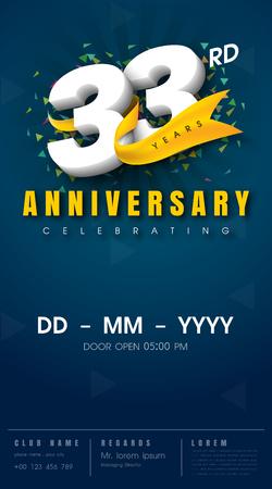 33 jaar verjaardag uitnodigingskaart - viering sjabloonontwerp, 33ste verjaardag moderne ontwerpelementen, donkerblauwe achtergrond - vectorillustratie Stockfoto - 68320071