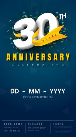 30th: 30 years anniversary invitation card - celebration template  design , 30th anniversary modern design elements, dark blue  background - vector illustration