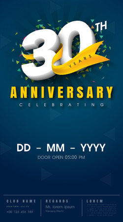 30 years anniversary invitation card - celebration template 