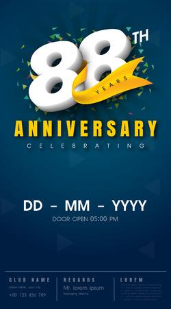88 年記念招待カード - お祝いテンプレート デザイン、88 周年記念モダンなデザイン要素、暗い青色の背景 - ベクター イラスト