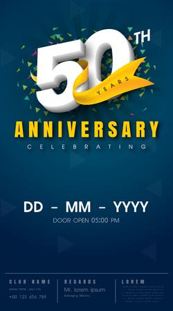 50 years anniversary: 50 years anniversary invitation card - celebration template  design , 50th anniversary modern design elements, dark blue  background - vector illustration