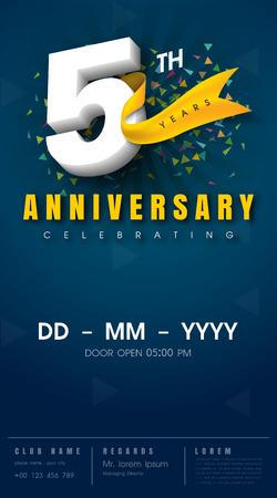 5 years anniversary invitation card - celebration template design , 5th anniversary modern design elements, dark blue background - vector illustration 向量圖像