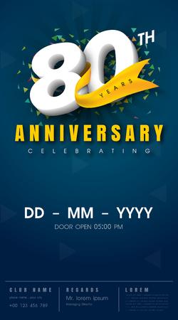 80 years: 80 years anniversary invitation card - celebration template  design , 80th anniversary modern design elements, dark blue  background - vector illustration