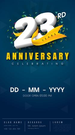 Scheda dell'invito di 23 anni anniversario - modello di celebrazione design, 23 ° anniversario elementi di design moderno, sfondo blu scuro - illustrazione vettoriale Archivio Fotografico - 68320136