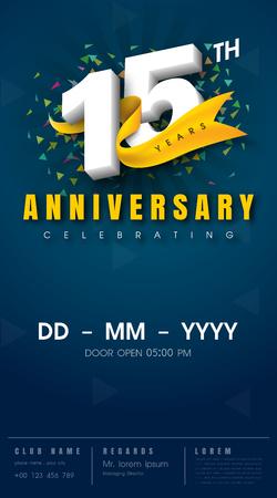 15 years anniversary invitation card - celebration template design , 15th anniversary modern design elements, dark blue background - vector illustration Stock Illustratie