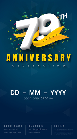 79 years anniversary invitation card - celebration template design , 79th anniversary modern design elements, dark blue background - vector illustration