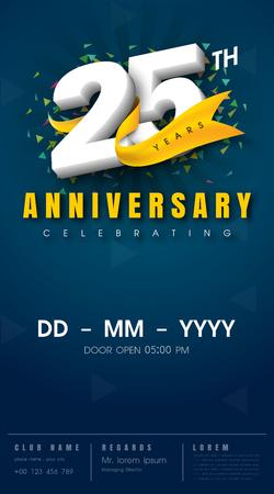 Carte d'invitation anniversaire 25 ans - conception de modèle de célébration, éléments de design moderne 25e anniversaire, fond bleu foncé - illustration vectorielle
