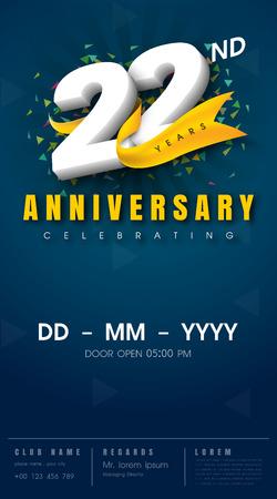 22 years anniversary invitation card - celebration template design , 22nd anniversary modern design elements, dark blue background - vector illustration 向量圖像