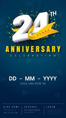 24 years anniversary invitation card - celebration template design , 24th anniversary modern design elements, dark blue background - vector illustration
