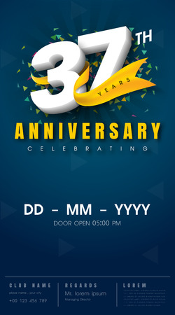 37 years anniversary invitation card - celebration template design , 37th anniversary modern design elements, dark blue background - vector illustration
